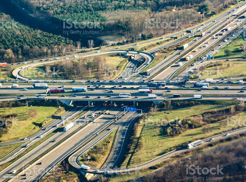 highway at the frankfurter kreuz in the afternoon stock photo