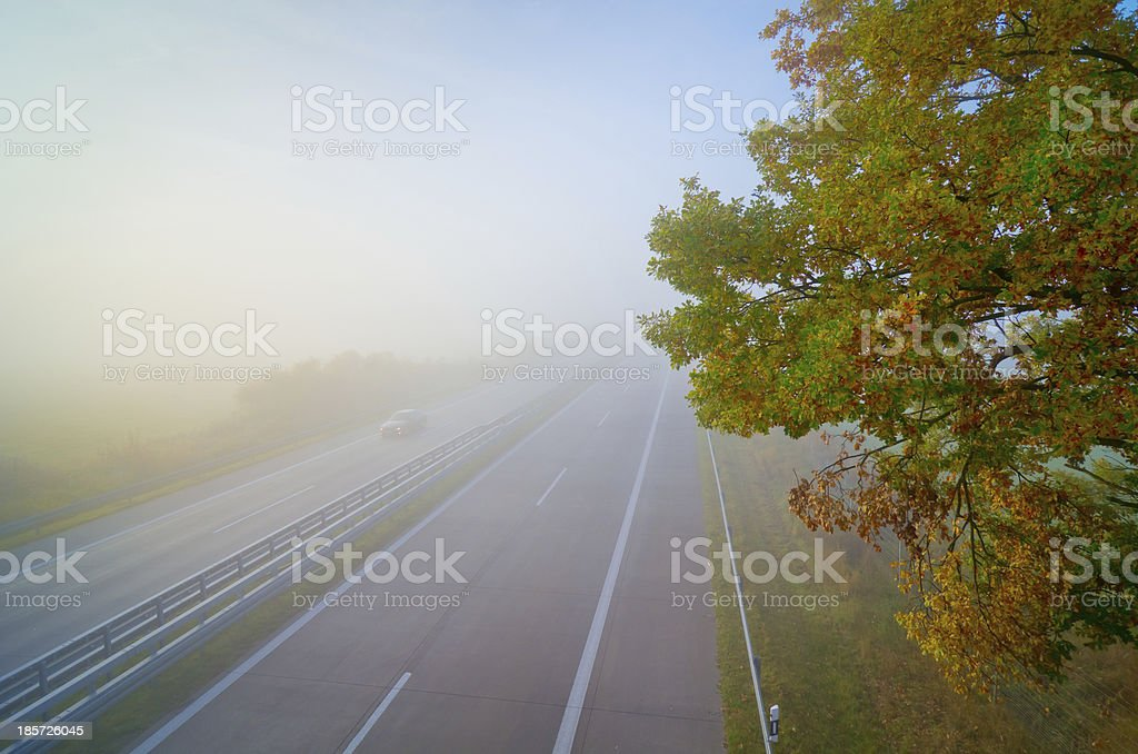 Highway, autumn, fog, foliage stock photo