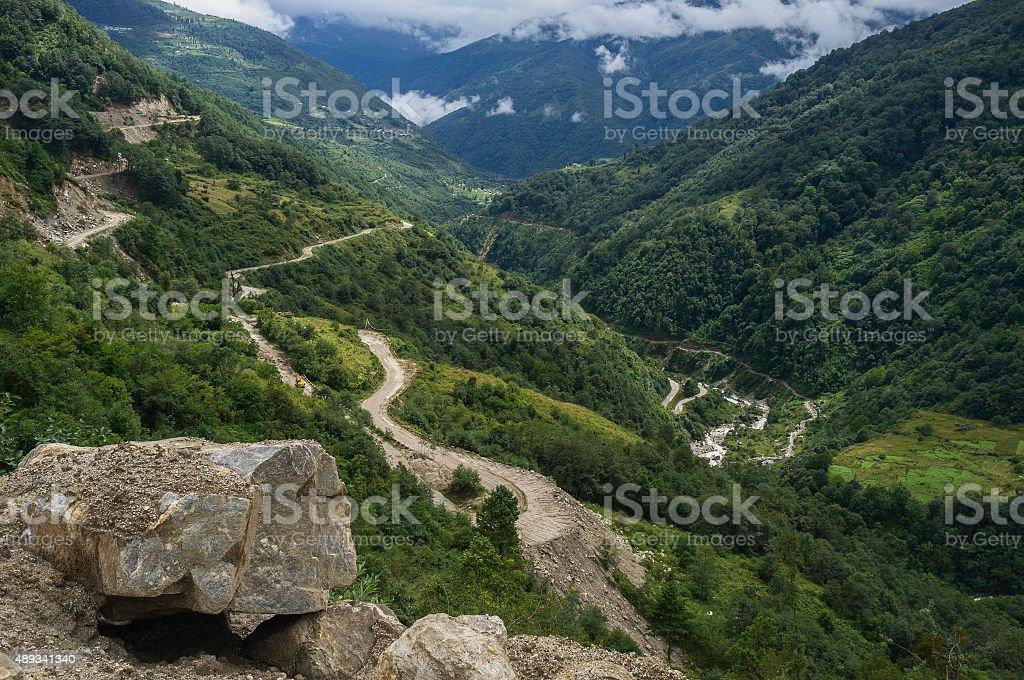 Highway between Assam and Tawang, Arunachal Pradesh, India. stock photo