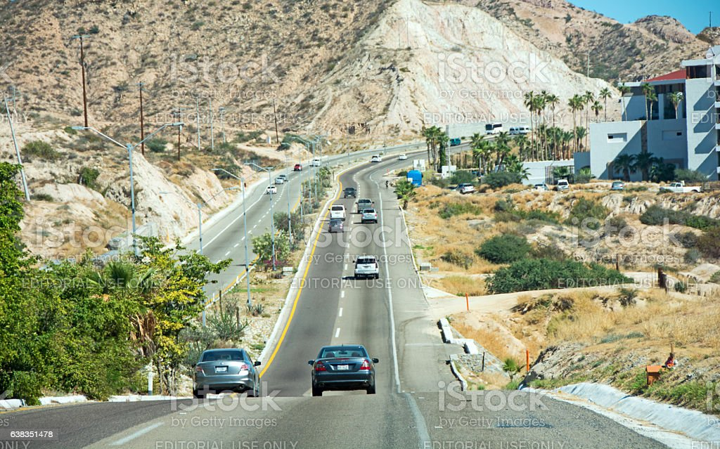 Highway  between Cabo San Lucas and San Jose Del Cabo stock photo