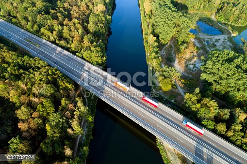 Aerial view of highway bridge over Danube River, Bavaria, Germany