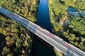Aerial view of highway bridge over Danube River, Bavaria, Germany