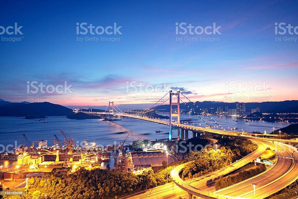 highway bridge at night royalty-free stock photo