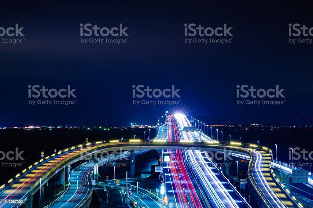 Highway Bridge Car Light Trail on Tokyo Bay stock photo