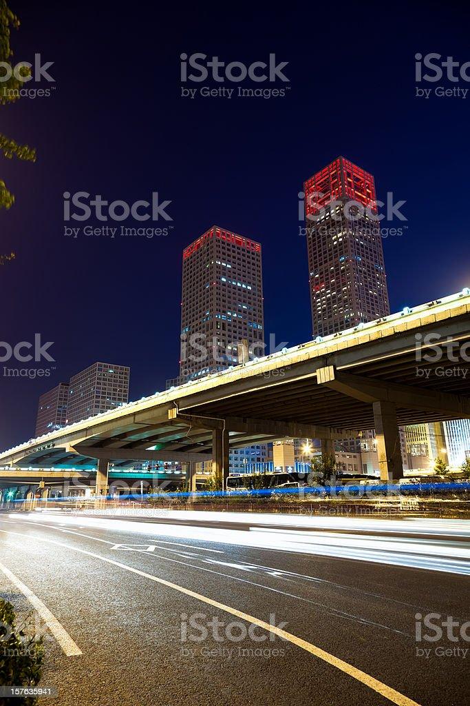 Highway bridge crossing Beiijng CBD royalty-free stock photo