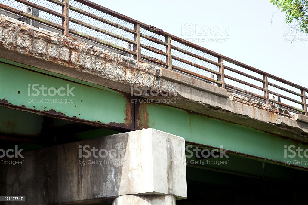 Highway Bridge in Need of Repair stock photo