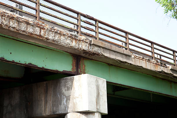 highway bridge in need of repair - deterioration stock pictures, royalty-free photos & images