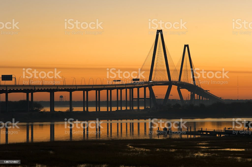 Highway Bridge in Orange Sunrise, Modern, New, Charleston, SC royalty-free stock photo