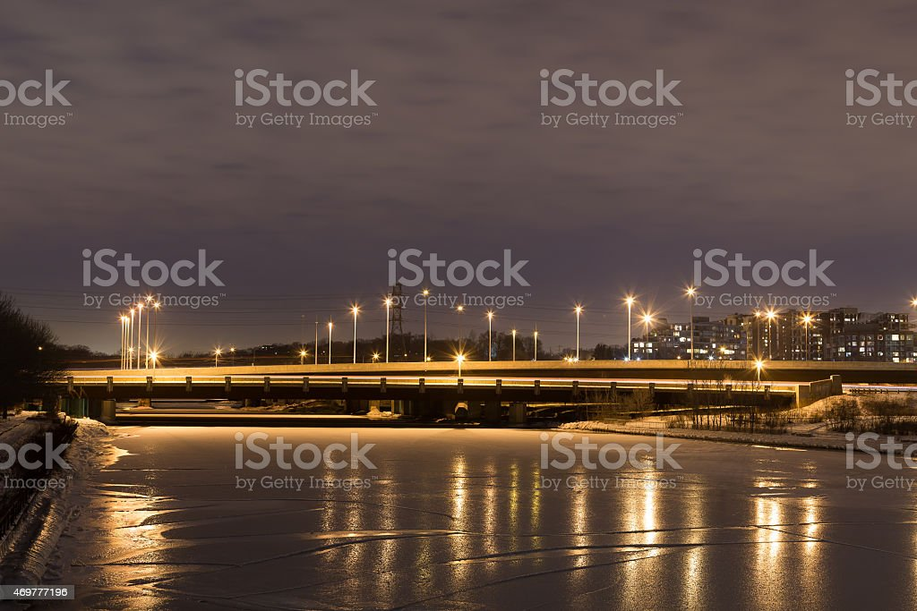 Highway Bridge in West Toronto at Night stock photo