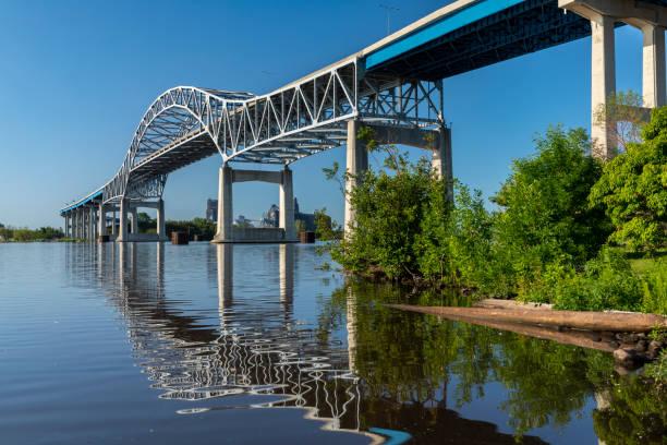 Highway Bridge Over A Bay stock photo