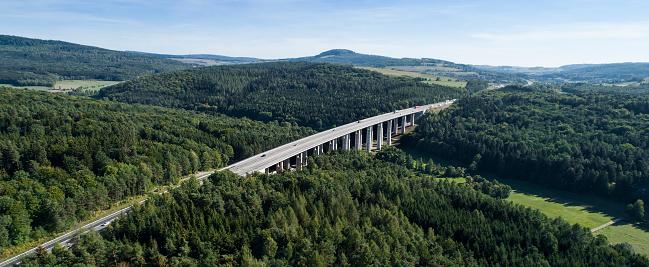 Highway bridge - panoramic aerial view