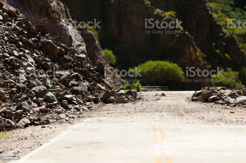 Highway Cliff Rock Collapse royalty-free stock photo