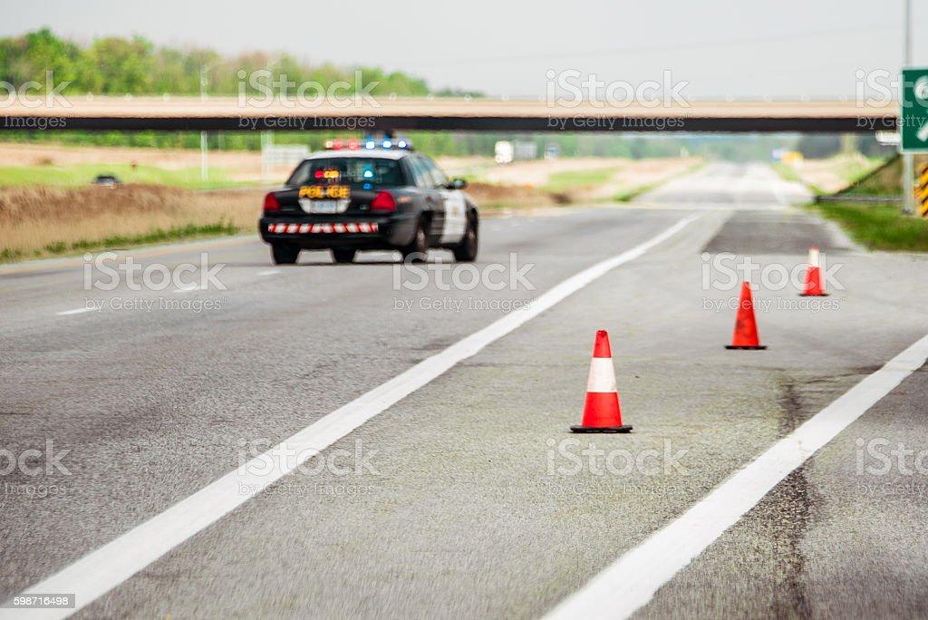Highway Closed stock photo