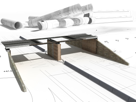 Highway construction 3D rendering with civil engineer drawings