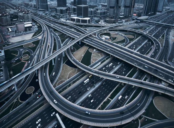 Highway crossroads Aerial view of overpass elevated road stock pictures, royalty-free photos & images
