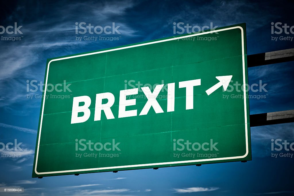 Highway directional sign for BREXIT stock photo