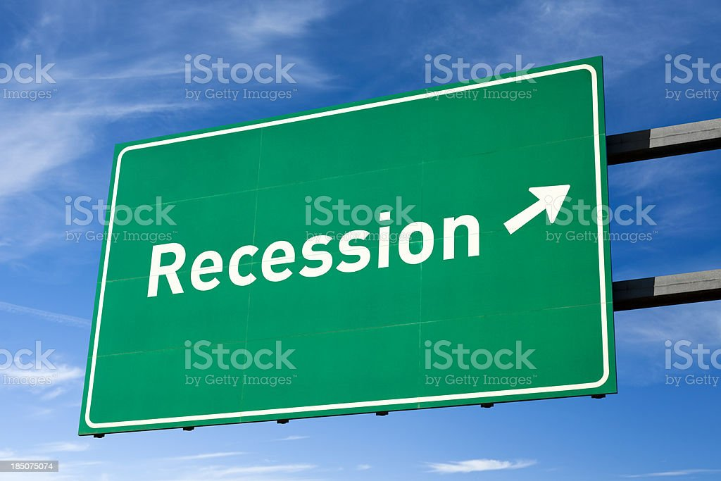 Highway directional sign for Recession royalty-free stock photo