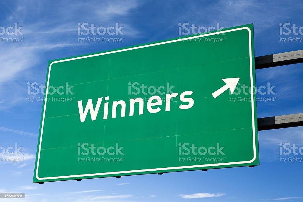 Highway Wegweiser für die Gewinner – Foto