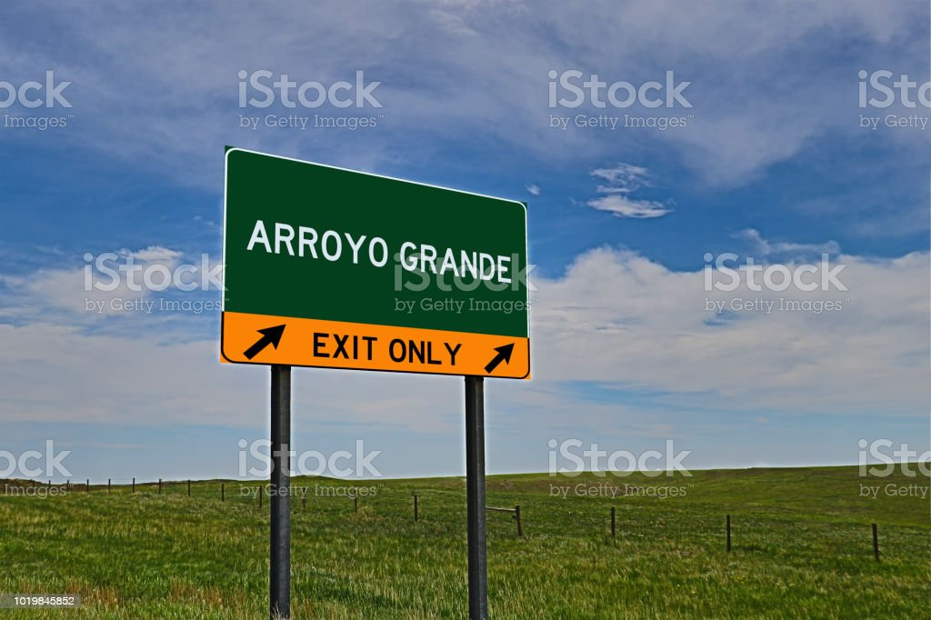 ARROYO GRANDE US Highway Exit Only Sign stock photo