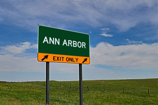 ANN ARBOR US Highway Exit Only Sign Composite Image of an