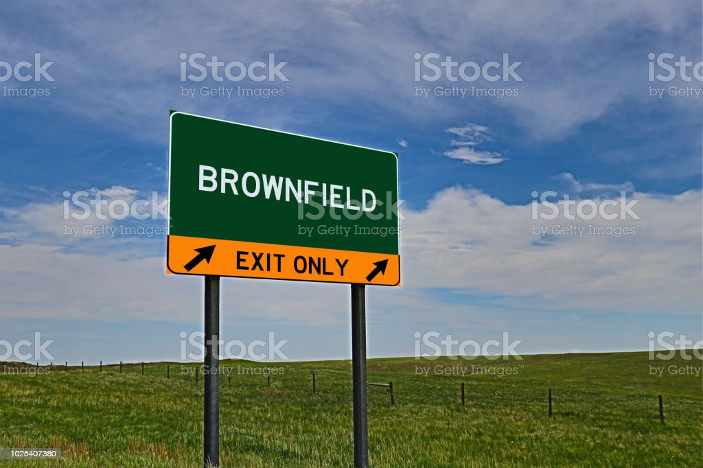 BROWNFIELD US Highway Exit Only Sign stock photo