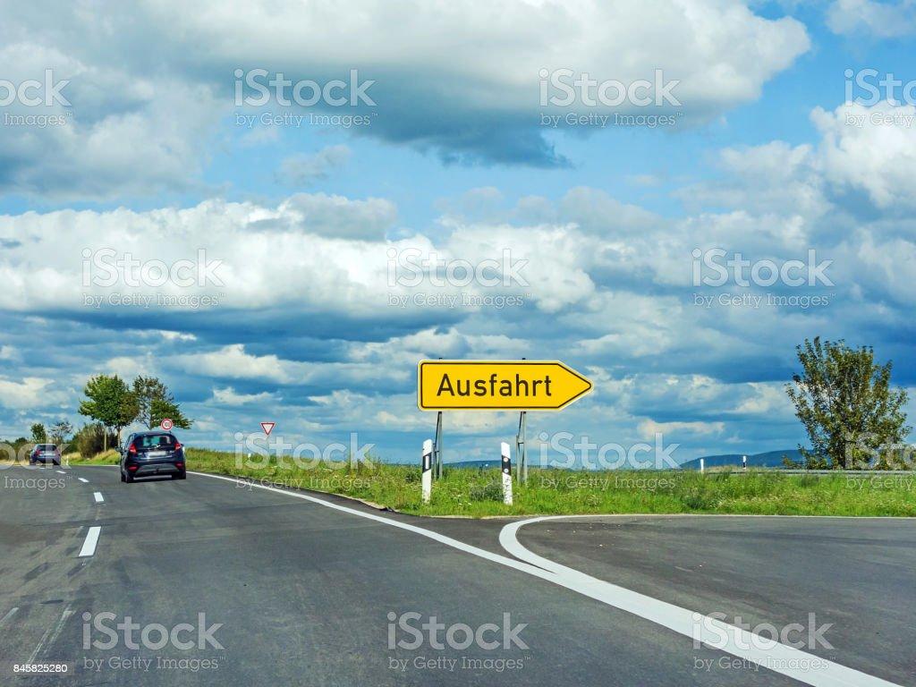 Highway exit raod sign / Ausfahrt stock photo