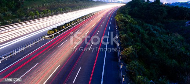 Highway fast traffic at night,  long time exposure