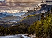 highway go through canadian rockies in winter, alberta, canada.