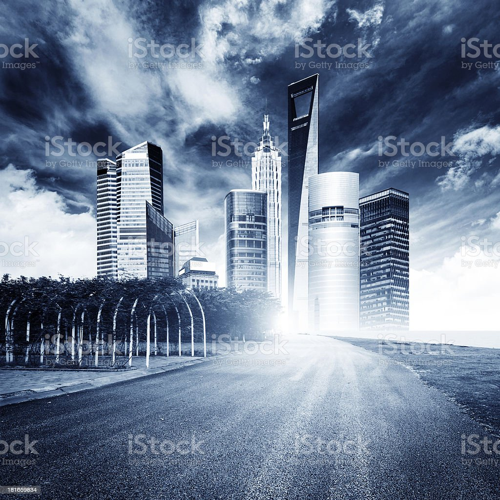Highway heading to the city royalty-free stock photo