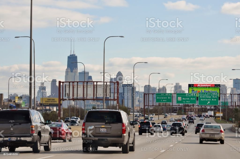 Chicago Il Usa October 31 2017 Highway I90 Kennedy Express