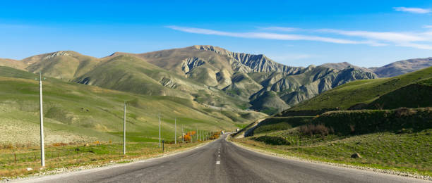 Highway in a mountainous area stock photo
