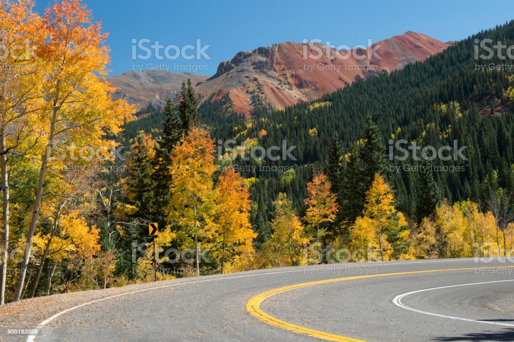 Highway in Autumn in Colorado stock photo