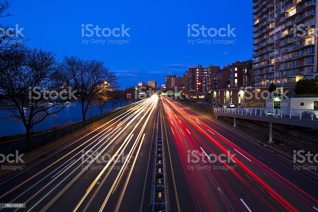 Highway in Boston at twilight stock photo