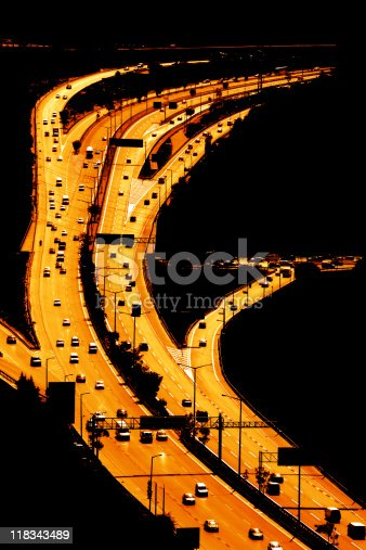 elevated view of highway in istanbul.