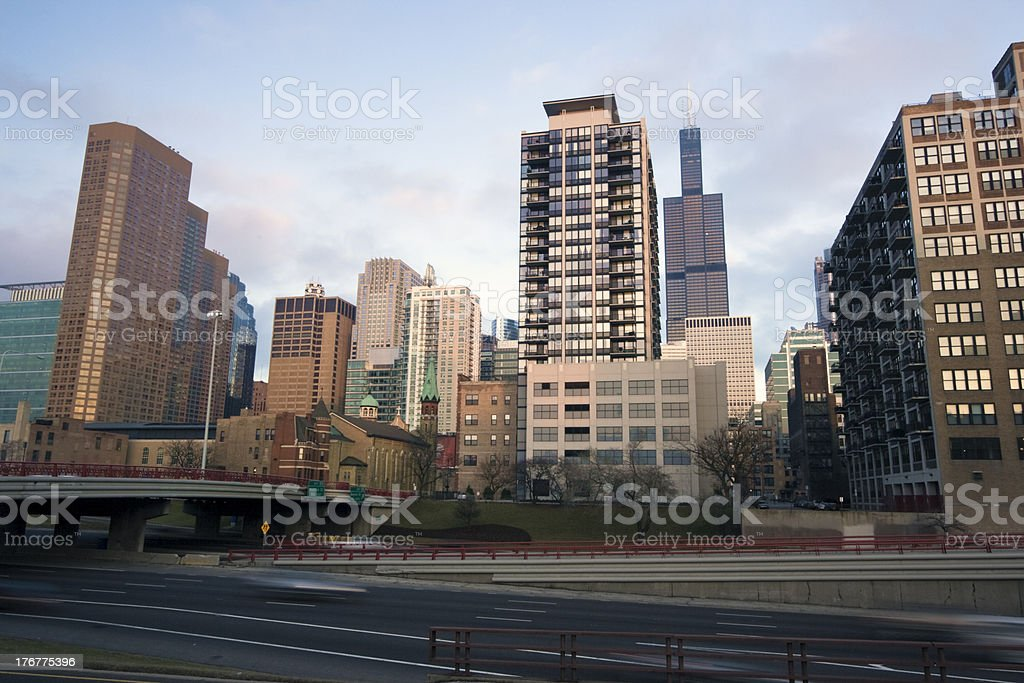 Highway in downtown Chicago royalty-free stock photo