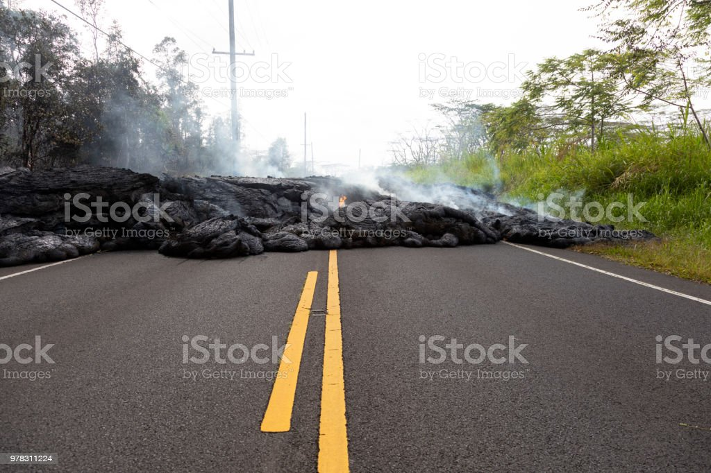 Highway in Hawaii, which was destroyed by a lava flow stock photo