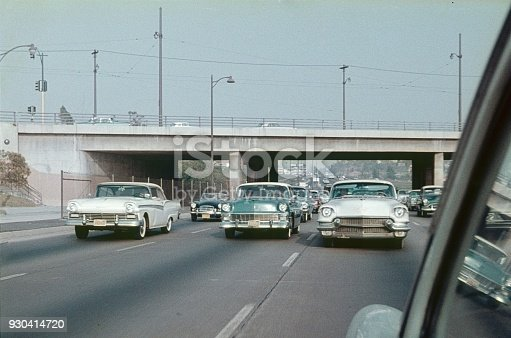 Los Angeles, California, USA, 1965. Cars on a highway in Greater Los Angeles.
