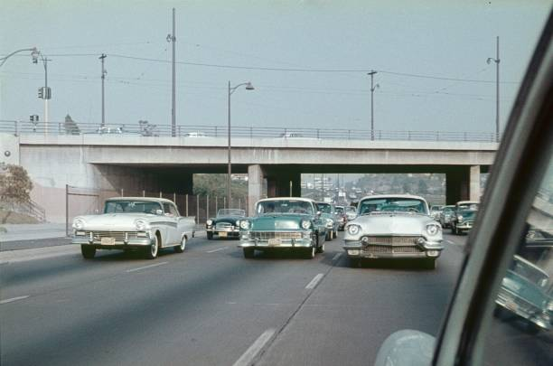 Highway in Los Angeles, California Los Angeles, California, USA, 1965. Cars on a highway in Greater Los Angeles. 20th century style stock pictures, royalty-free photos & images