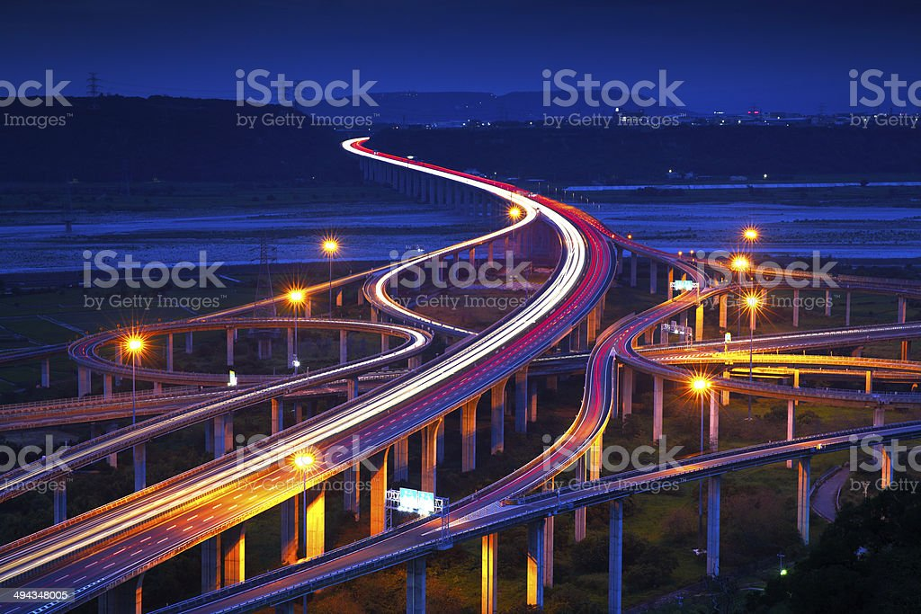 Highway in night stock photo
