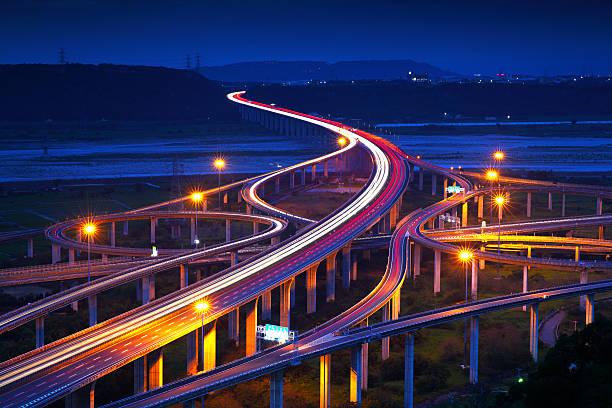 Highway in night stock photo
