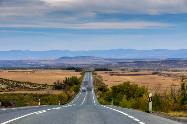 Highway in province Navarra of Central Spain stock photo