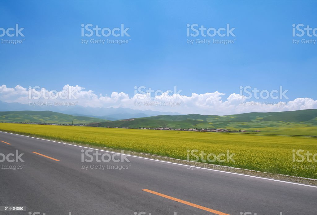 Highway in Qinghai, China stock photo