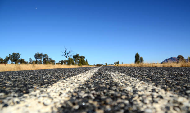 Highway in the desert, Northern territory, Australia stock photo