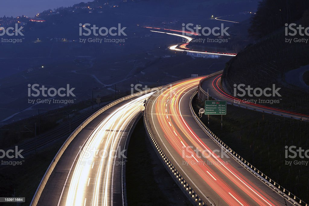 Highway in the night, Lavaux, Switzerland stock photo