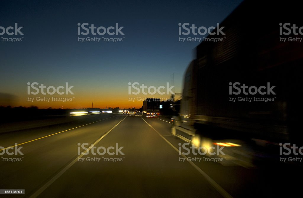 Highway in the night stock photo