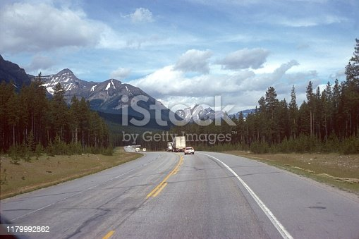 Alberta, Canada, 1976. Highway in the state of Alberta.