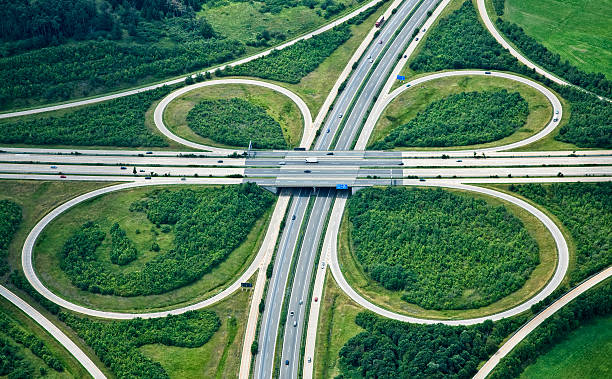 Highway Interchange, Aerial View An elevated view of a clover leaf shaped highway interchange. This is the
