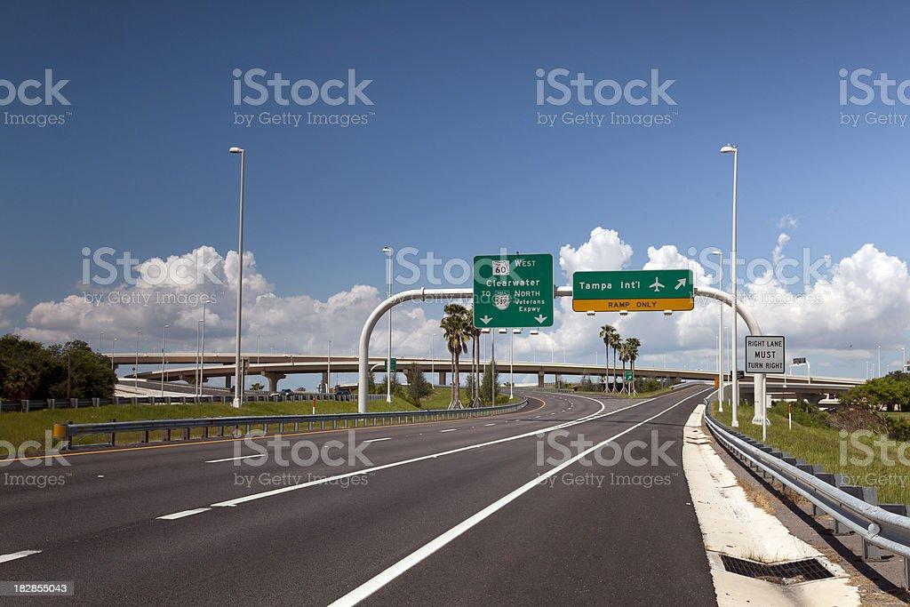 Highway Interchange to Tampa Airport stock photo