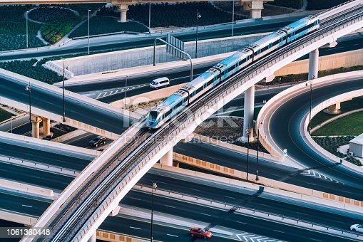 istock Highway intersection and Metro Train in Dubai, UAE 1061360448