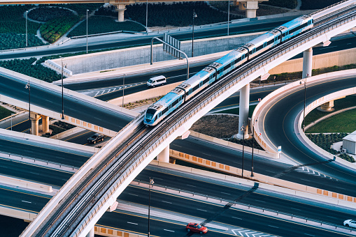 Aerial view of a big highway intersection in Dubai, UAE